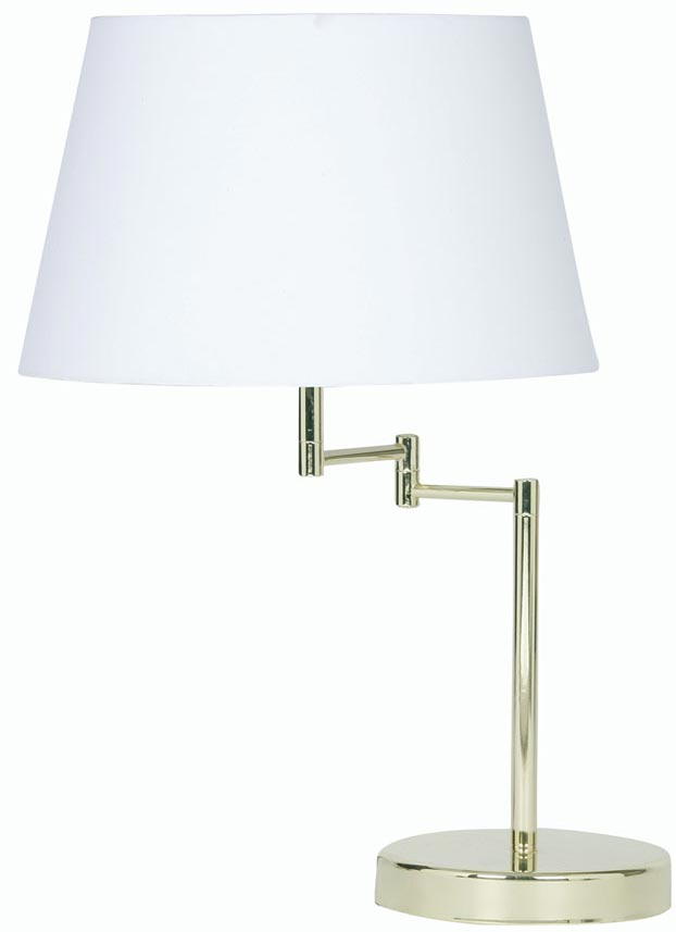 Armada polished brass swing arm table lamp cotton shade choice aloadofball Images