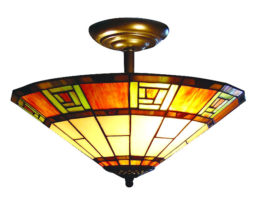 Fireglo Art Deco Style Semi Flush Tiffany Light