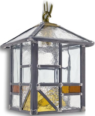Arundel Handmade Hanging Porch Light Square Amber Leaded Glass