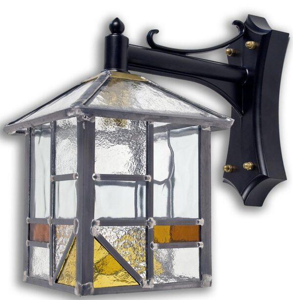 Arundel Amber Leaded Glass Traditional Outdoor Wall Lantern
