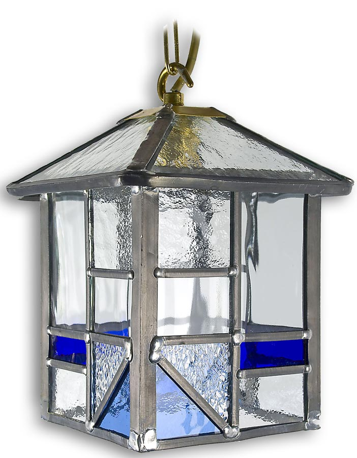 Arundel Hanging Porch Light Square Blue Leaded Glass