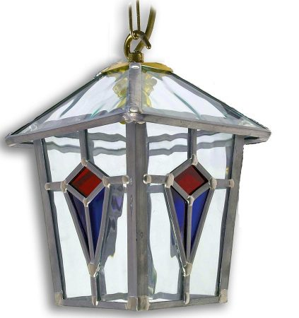 Ascot Handmade Red And Blue Leaded Glass Hanging Porch Lantern