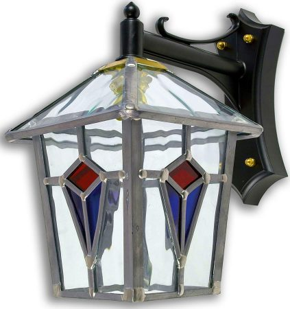 Ascot Handmade Red And Blue Leaded Glass Outdoor Wall Lantern