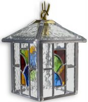 Aspen Handmade Multi Coloured Leaded Glass Hanging Porch Lantern