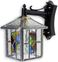 Aspen Traditional Multi Coloured Leaded Glass Outdoor Wall Lantern