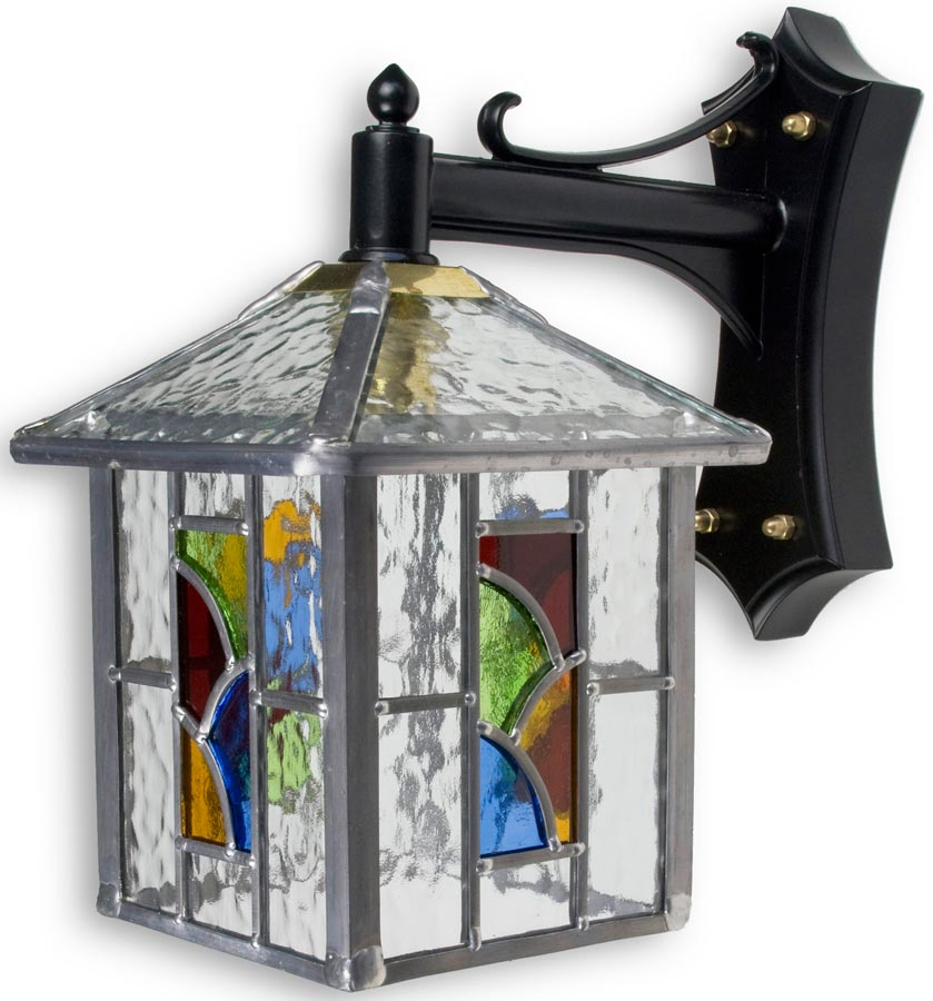 Wall Lantern Replacement Glass : Aspen Traditional Multi Coloured Leaded Glass Outdoor Wall Lantern