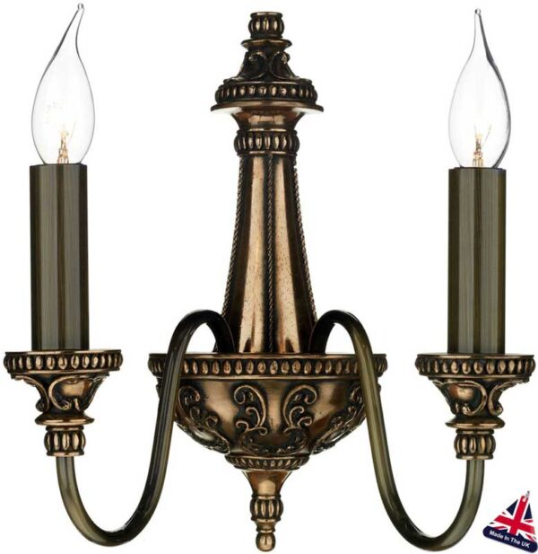 David Hunt Lighting Bailey twin wall light rich bronze