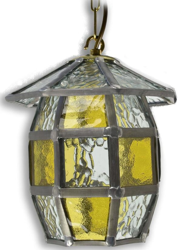 Barrel Handmade Honey Amber Leaded Glass Outdoor Porch Lantern
