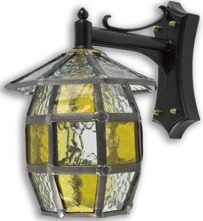 Barrel Handmade Honey Amber Leaded Glass Outdoor Wall Lantern