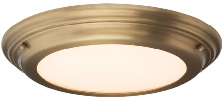 Elstead Welland Flush LED Bathroom Ceiling Light Aged Brass IP44