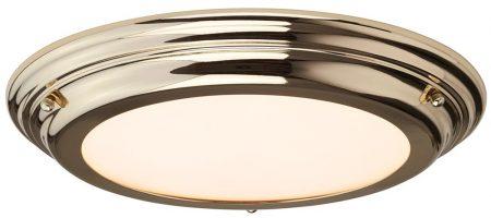 Elstead Welland Flush LED Bathroom Ceiling Light Polished Brass IP44
