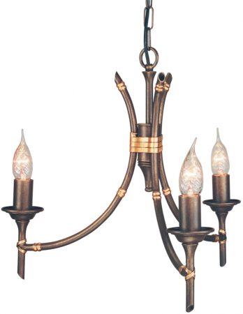 Elstead Bronze Finish Bamboo 3 Light Chandelier UK Made
