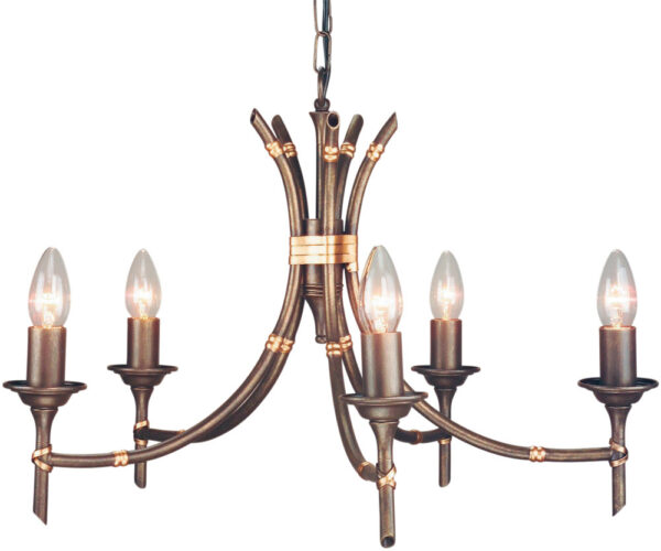 Elstead Bronze Finish Bamboo 5 Light Chandelier UK Made