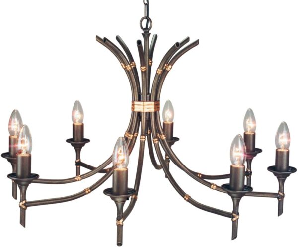 Elstead Bamboo 8 Light Chandelier Bronze Patina UK Made