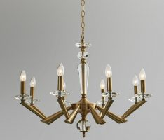 Impex Belda Antique Brass 8 Light Large Chandelier With Crystal