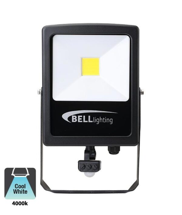 Bell Skyline Slim 50w LED PIR Security Floodlight Override Black IP65