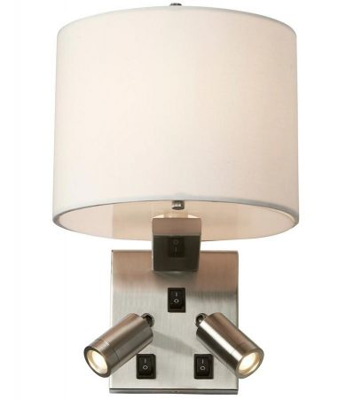 Elstead Belmont Switched Wall Light 2 LED Reading Lamps Brushed Nickel