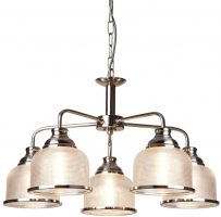 Bistro II Satin Silver 5 Light Chandelier Retro Style Holophane Glass