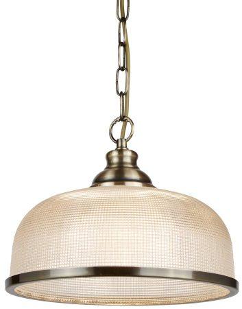 Bistro II Antique Brass 1 Light Pendant Retro Style Holophane Glass