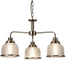 Bistro II Antique Brass 3 Light Chandelier Retro Style Holophane Glass