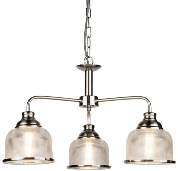 Bistro II Satin Silver 3 Light Chandelier Retro Style Holophane Glass