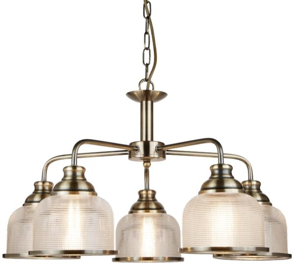 Bistro II Antique Brass 5 Light Chandelier Retro Style Holophane Glass