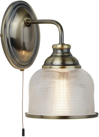 Bistro II Antique Brass Switched Wall Light Retro Style Holophane Glass