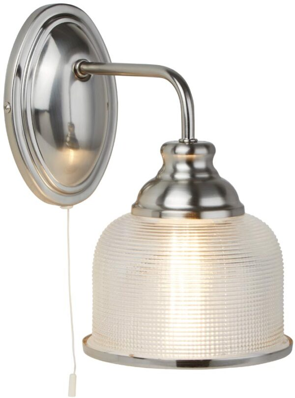 Bistro II Satin Silver Switched Wall Light Retro Style Holophane Glass