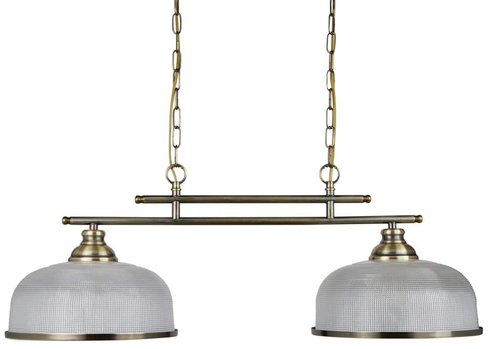 Bistro II Antique Brass 2 Light Pendant Bar Retro Style