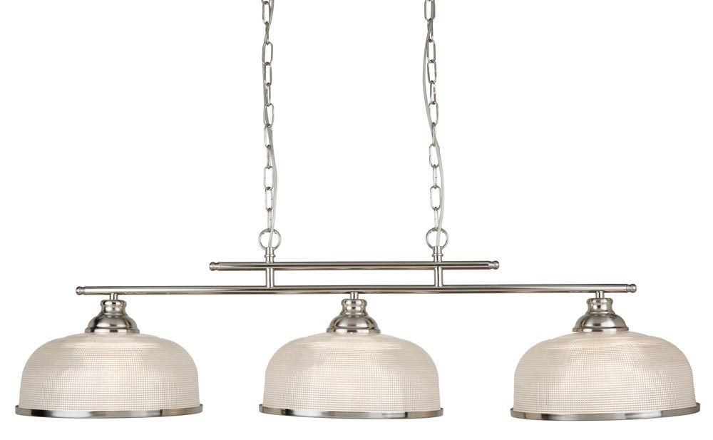 Bistro II Satin Silver 3 Light Pendant Bar Retro Style Holophane Glass