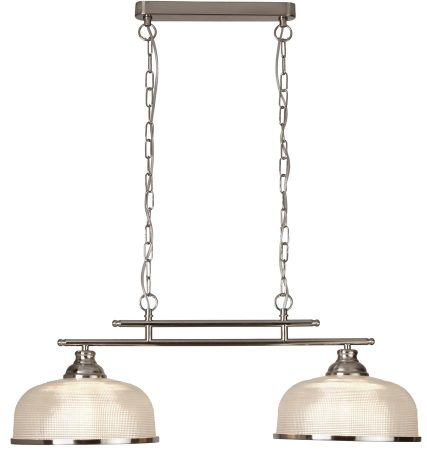 Bistro II Satin Silver 2 Light Pendant Bar Retro Style Holophane Glass