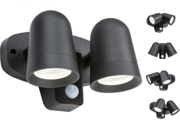 Black Outdoor Wall Twin LED Spot Light PIR Manual Override IP65