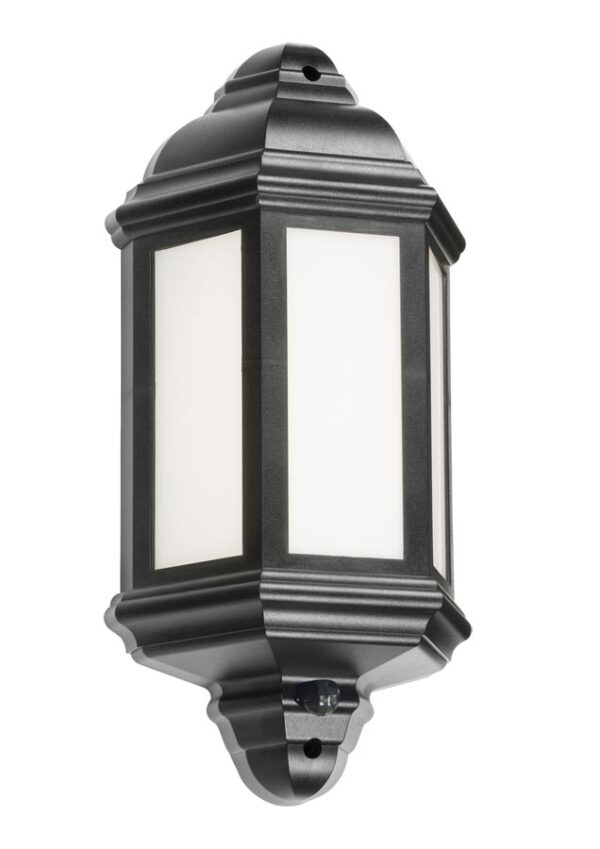 Black polycarbonate outdoor PIR sensor wall lantern with manual override facility