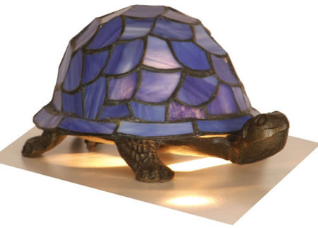 Blue Leaded Light Tortoise Lamp