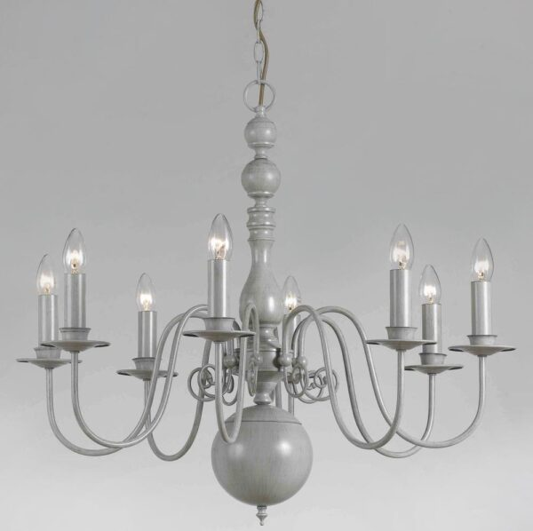 Impex Bologna Traditional 8 Light Flemish Chandelier In Grey