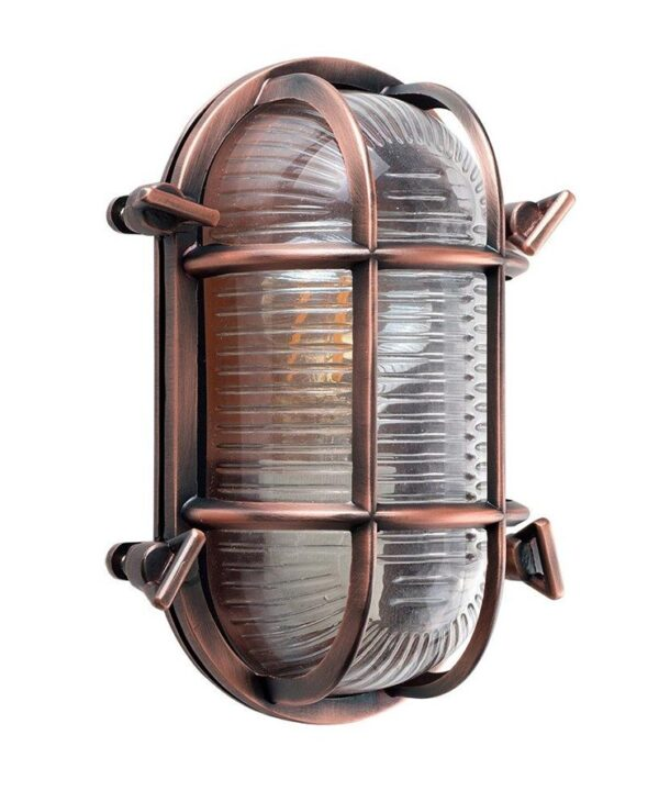 Bow Oval Nautical Outdoor Bulkhead Light Antique Copper IP64