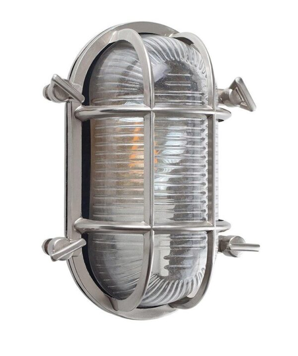 Bow Oval Nautical Outdoor Bulkhead Light Polished Aluminium IP64