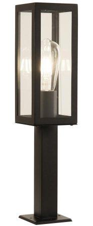 Box Rectangular 45cm Outdoor Bollard Matt Black Clear Glass IP44