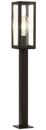 Box Rectangular 90cm Outdoor Post Lantern Matt Black Clear Glass IP44