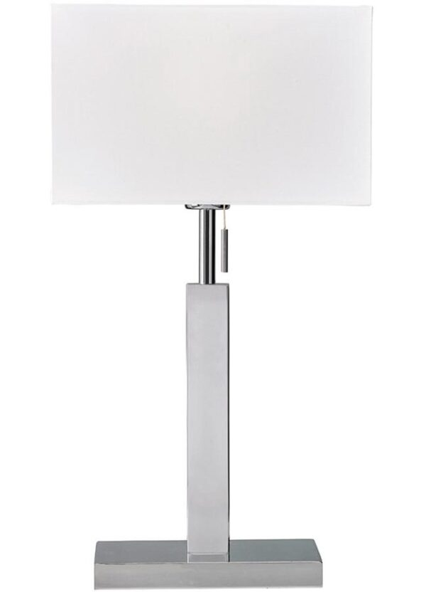 Brooke modern bedside table lamp in polished chrome with white box shade