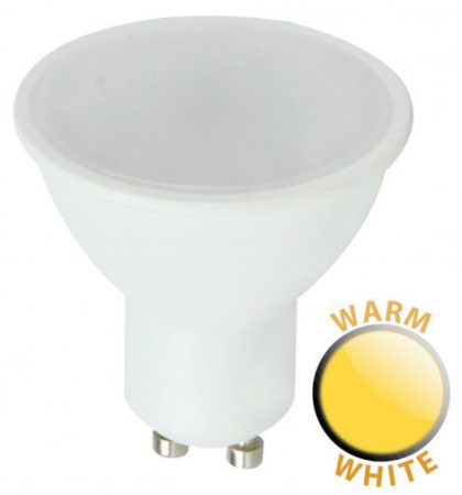 Budget 7W SMD LED GU10 Frosted Bulb Warm White 600 Lumen