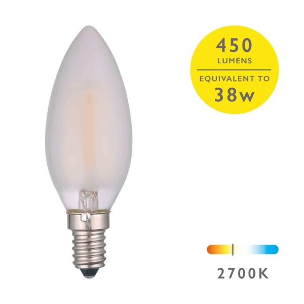 5 Pack 4w LED Frosted Candle Bulb Warm White 450 Lumen E14