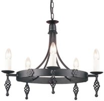 Belfry Black Finish Gothic Cartwheel 5 Arm Chandelier UK Made