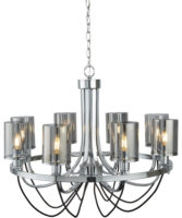 Catalina 8 Light Chandelier Polished Chrome Smoked Glass Shades