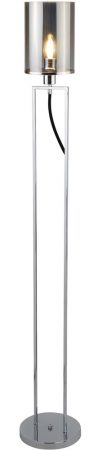 Catalina 1 Light Floor Lamp Polished Chrome Smoked Glass Shade
