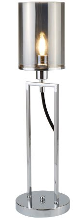 Catalina 1 Light Table Lamp Polished Chrome Smoked Glass Shade