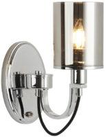 Catalina Single Switched Wall Light Polished Chrome Smoked Glass
