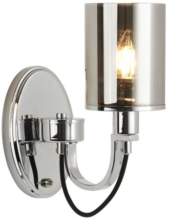 Catalina Single Switched Wall Light Polished Chrome Smoked Glass