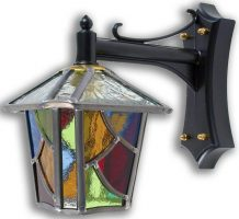Chepstow Multi Coloured Leaded Glass Mini Outdoor Wall Lantern