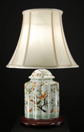 Oriental Ceramic Vase Table Lamp And Cream Shade
